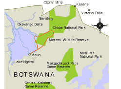 Map of The Classic Okavango Safari
