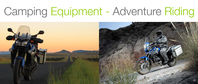 camping equipment and gear for adventure bike riding africa